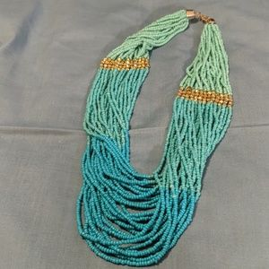 Beautiful turquoise seed bead necklac